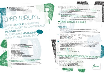 concours vingt ans Forum Meyrin Dites le avec une lettre