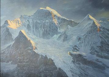 Silberhorn Jungfrau, 200 x 280 cm, Acryl/Oel auf Holz